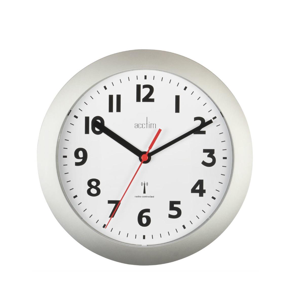 Acctim Parona Radio Controlled Silver 23cm Wall Clock Acctim Near